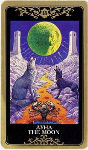 Старший аркан таро Луна (русское таро)